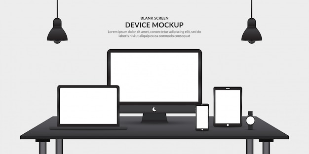 Realistic devices  with blank screen on the table, template for app development and ux/ui
