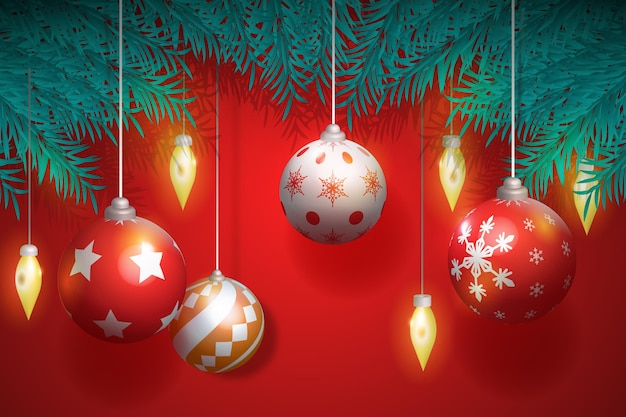 Realistic different christmas ball ornaments in tree