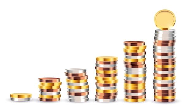 현실적인 다른 동전 단계 돈 소득 개념