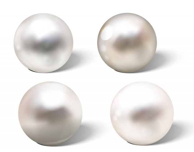 Realistic different colors pearls set.