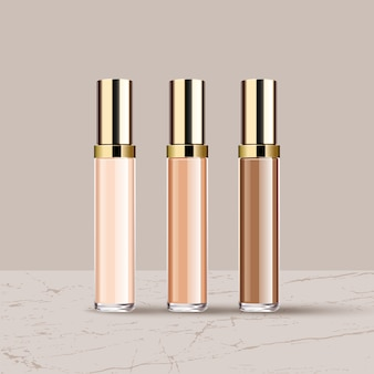 Realistic different liquid lipsticks