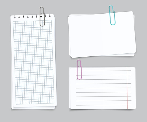 Realistic different sheets. blank gridded torn notebook paper color paper clips