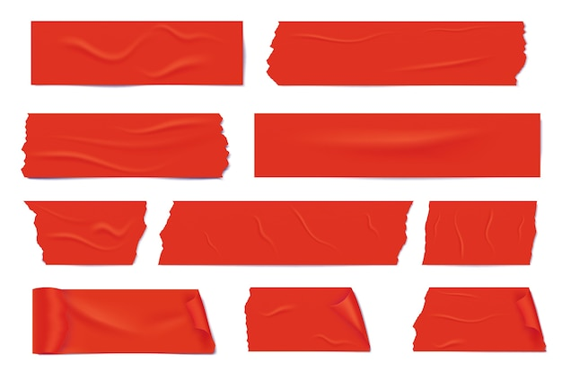 빨간 접착 테이프의 현실적인 다른 조각. 끈적한 마스킹 테이프.