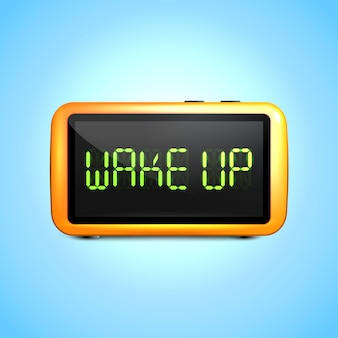 Realistic digital alarm clock with lcd display wake up concept text