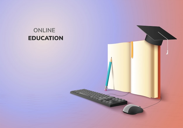 Realistic digital online concept. education application learning on gradient website background. decor by book lecture pencil  computer mouse keyboard graduation hat. 3d   illustration copy space