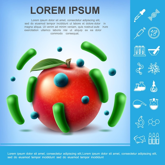 Realistic dirty apple poster with different germs and bacteria on fruit and laboratory research  illustration