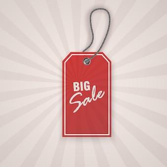 販売促進のための現実的な割引赤いタグ。ヴィンテージラベルテンプレート。