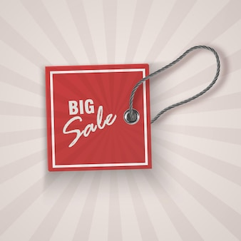 Realistic discount red tag for sale promotion. vintage label template.