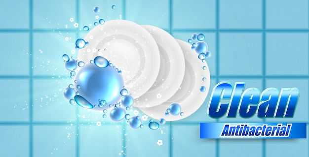 Realistic dish and plate on beautiful colored background and soap bubbles, dish wash illustration , template for design.