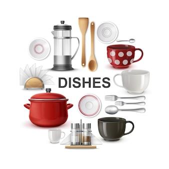 Реалистичная посуда и столовые приборы круглая концепция с чайником разные ложки, вилки, чашки, сковорода, держатель для салфеток, тарелки, солонка и перец, изолированные