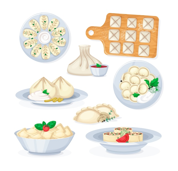 Realistic dishes from meat and dough food isolated  illustration