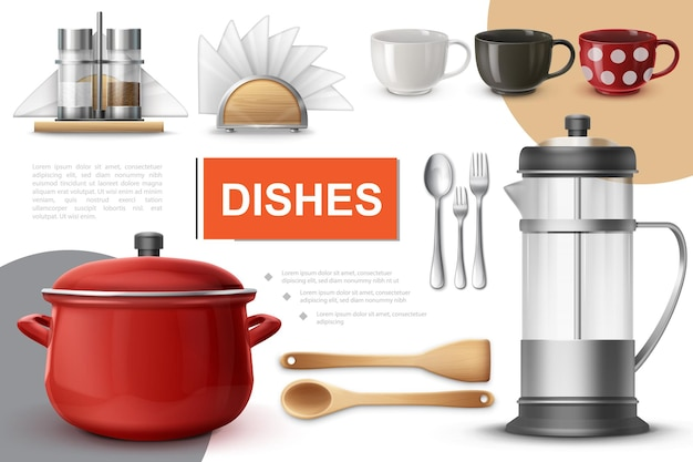 Realistic dishes and tableware composition with saucepan teapot spoons forks cups spatula napkin holder salt and pepper shakers