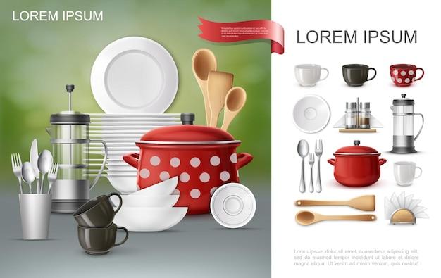 Реалистичная посуда и состав посуды с кастрюлями, тарелками для чайников, кофейными чашками, вилками, лопатками, ложками, держателями для салфеток, шейкеры для соли и перца
