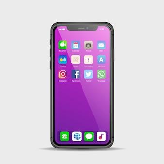 さまざまなアプリを搭載したスマートフォン用のリアルなディスプレイ