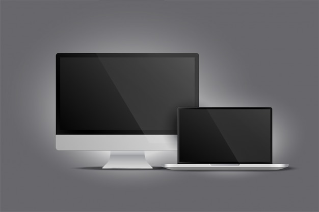 Realistic display of monitor desktop and laptop