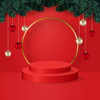 Realistic display stage christmas theme  decorated with tree branches and christmas balls red podium