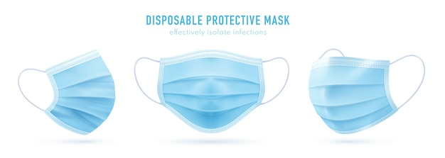 Realistic disposable protective mask. blue medical face mask. coronavirus protection