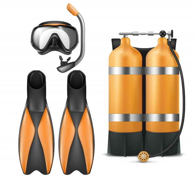 Realistic diver equipment set, snorkeling mask with snorkel, orange aqua lung and flippers