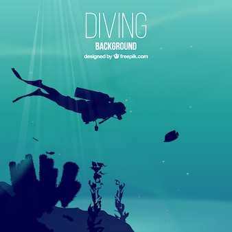 Realistic diving background with scuba diver and seaweeds