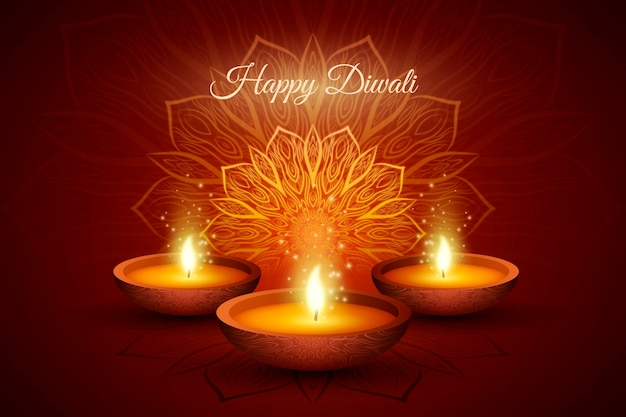 Realistic diwali background with candles