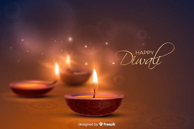 Realistic diwali background with festive candles
