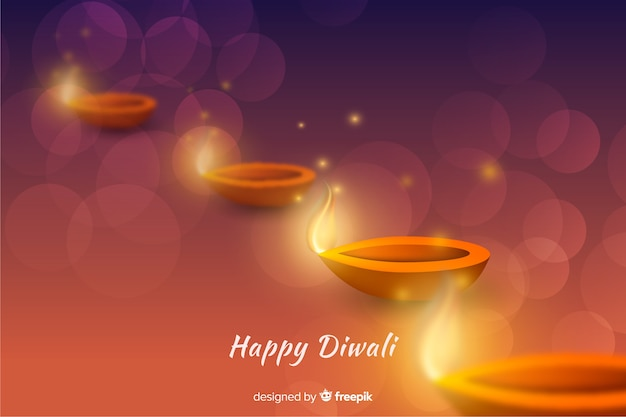 Realistic diwali background with gradient