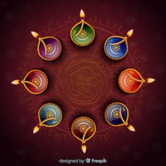 Realistic diwali background