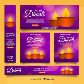 Realistic diwali and candles web banners