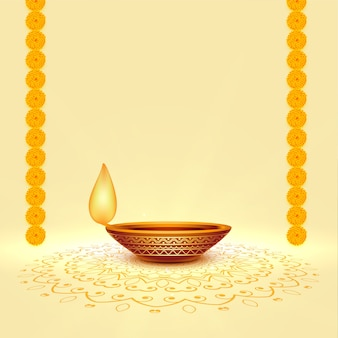 Realistic diwali festival diya background with text space