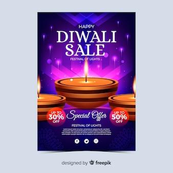 Realistic diwali festival sale poster