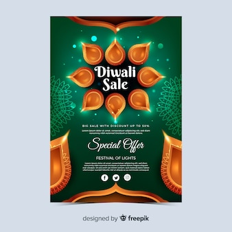 Realistic diwali festival special offer poster
