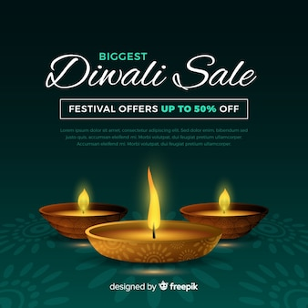 Realistic diwali holiday sale banner