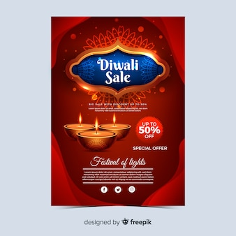 Realistic diwali holiday sale poster