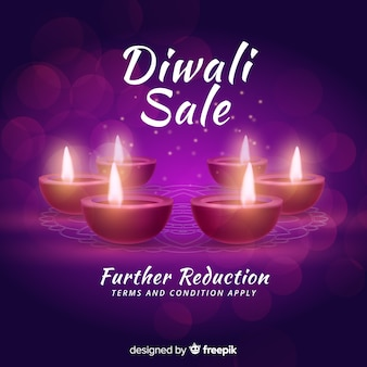 Realistic diwali sale concept with candles