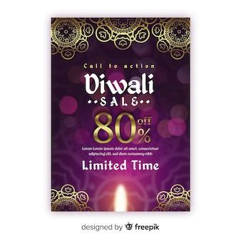 Realistic diwali sale flyer template
