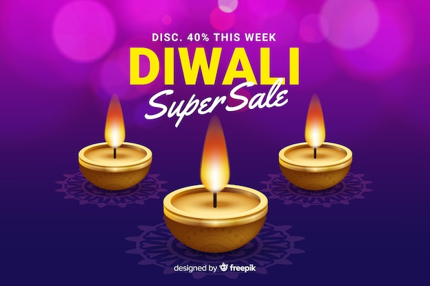 Realistic diwali sale and lighten candles