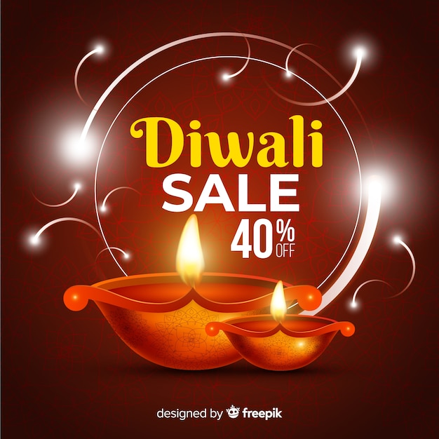 Realistic diwali sale with 40% discount