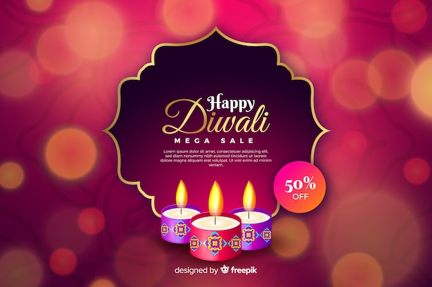 Realistic diwali sale with bokeh