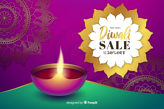 Realistic diwali sale with candle and badge