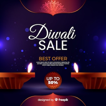 Realistic diwali sale with candles