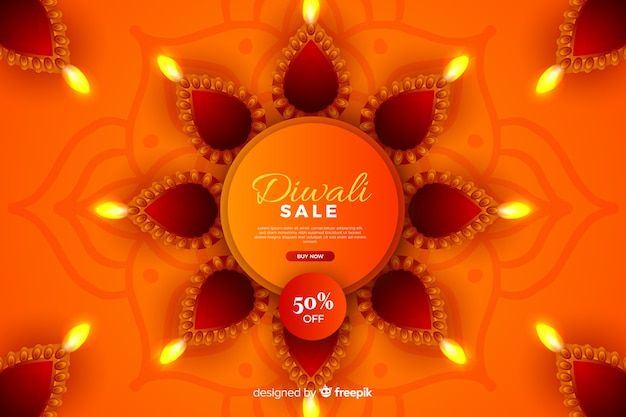 Realistic diwali sale with discount