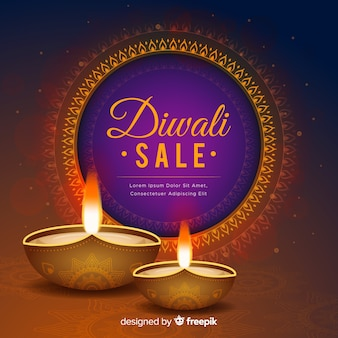 Realistic diwali sale with gradient