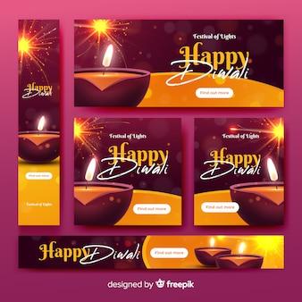Realistic diwali web banners