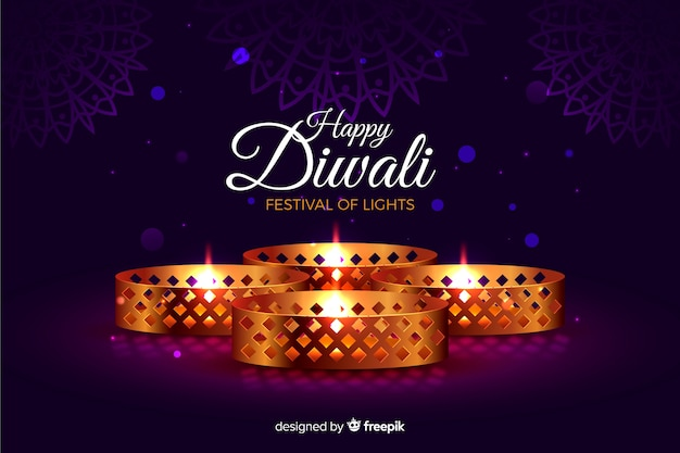 Realistic diwali with lights background