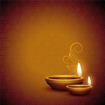 Realistic diya design for happy diwali festival