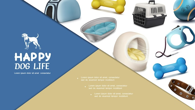 Realistic dog accessories composition with carriers collar leash bones ball and pet houses