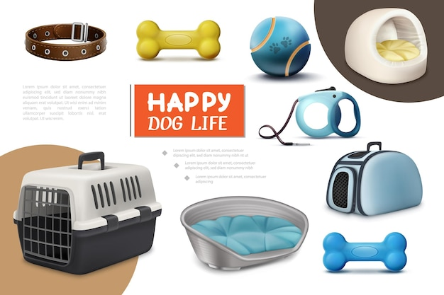 Realistic dog items composition with travel carrier leash puppy beds bones collar ball