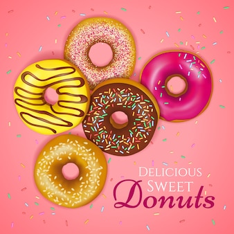 Realistic donuts illustration