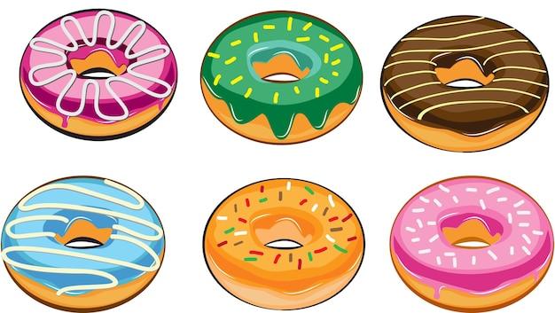 Реалистичные пончики с шоколадной начинкой изолированные красочные орехи сладкая сахарная глазурь растопленная