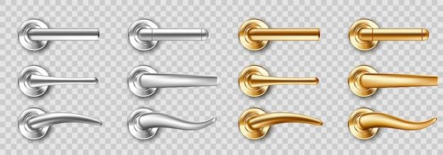 リアルなドアハンドルセット、さまざまな形の金色と銀色のノブ。光沢のある金と鋼のモダンな金属製のドアノブ、透明な背景の3dアイコンで隔離のインテリアのデザイン要素